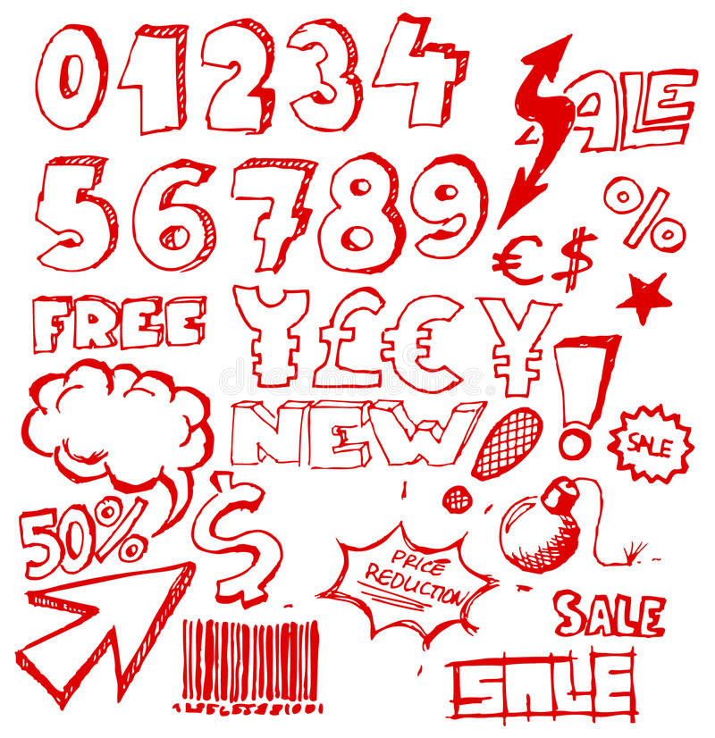 Download Set Of Doodle Eshop / Advert Elements Stock Vector - Image: 13631452