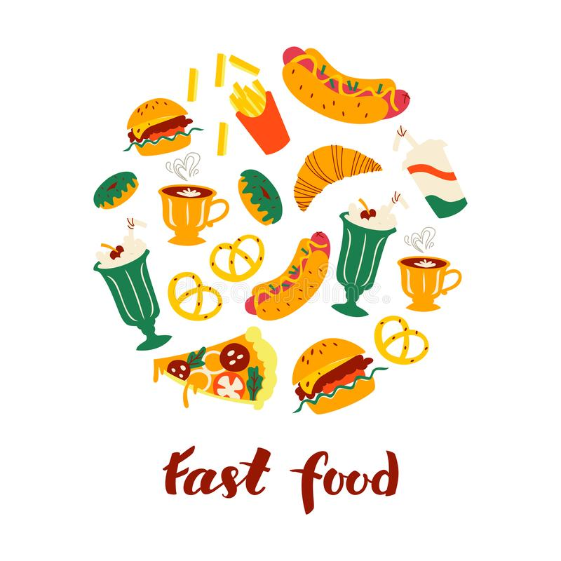 Set of Doodle Fast Food Icons and Handlettering Isolated on White Background. vector illustration