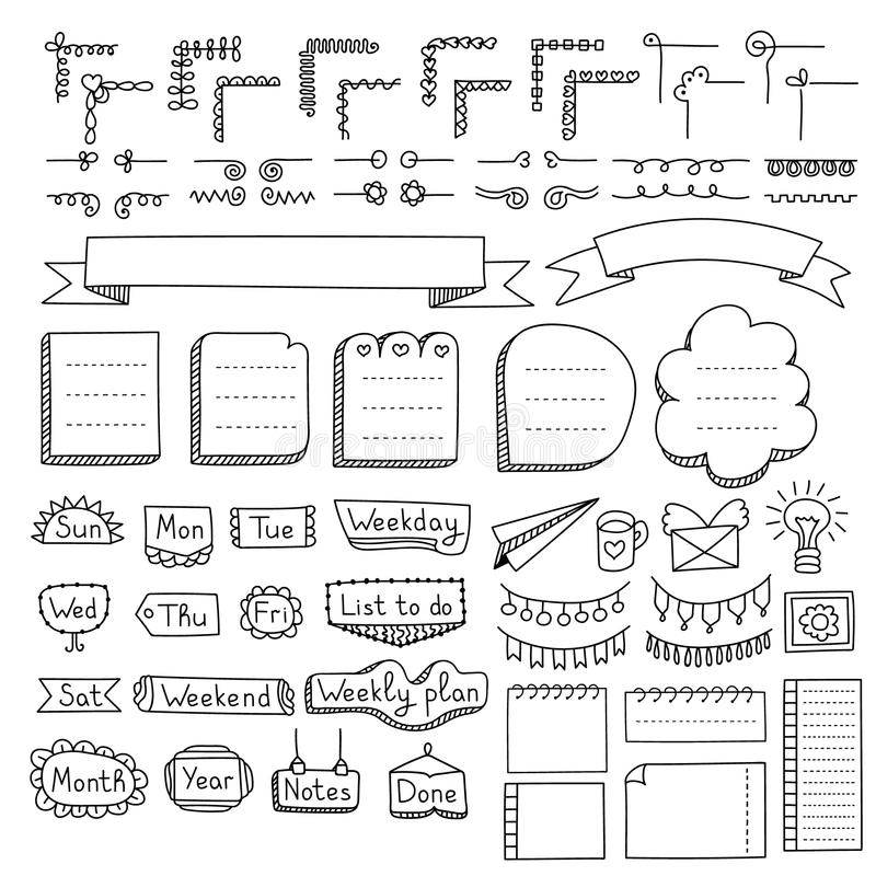 Set of doodle frames, borders, corners, dividers, ribbons, weekdays and design elements royalty free illustration