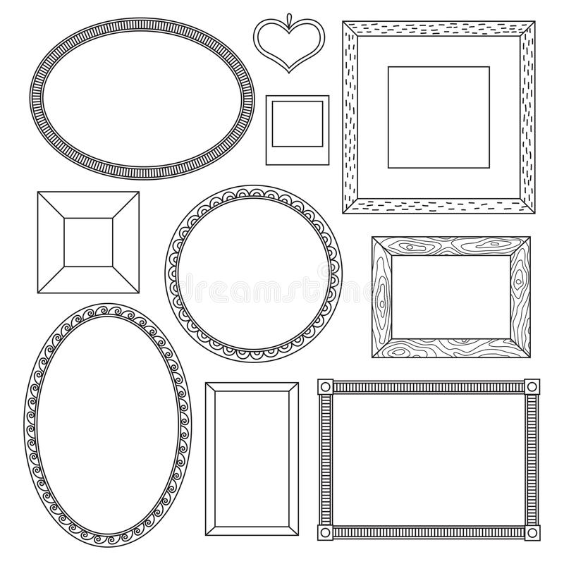 Set of doodle frames royalty free illustration