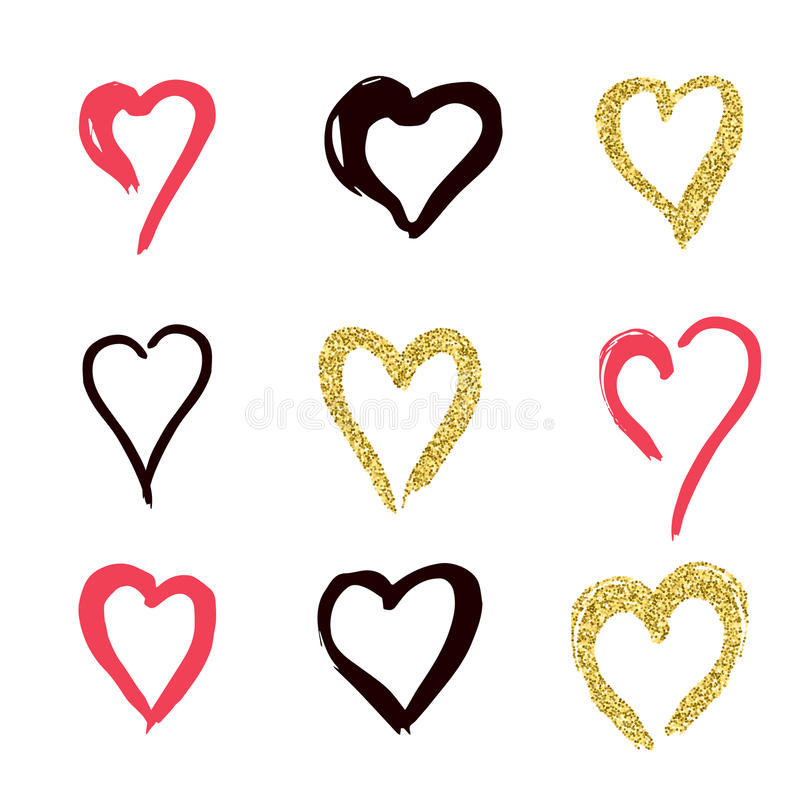 set of doodle hearts in style, the logo, the symbol of love, gold, pink, black on white background. use in decoration, design, em royalty free illustration