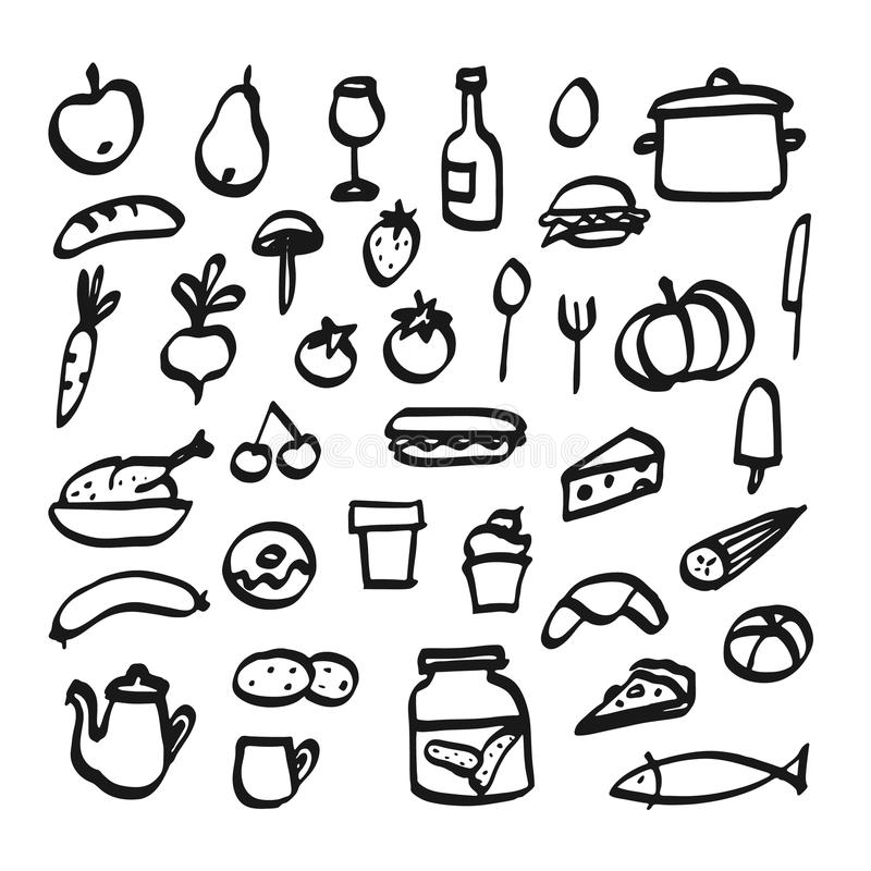 Set of doodle icons of food, drink and kitchen utensils, royalty free illustration