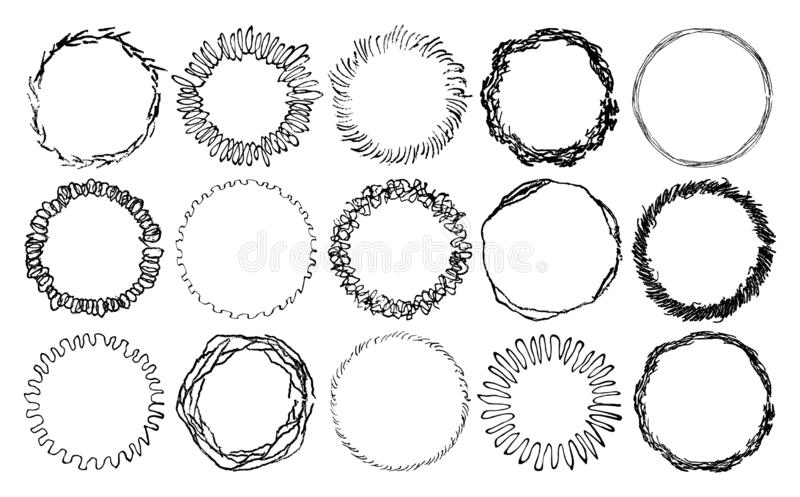 Set of doodle lines circle frames template. Hand drawn grunge round frames made in a pencil strokes. Vector illustration. stock illustration