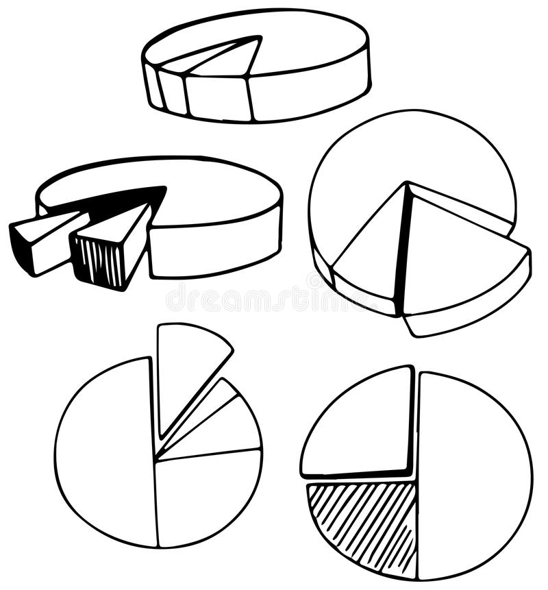 A Set of Doodle Pie Chart. Illustration royalty free illustration
