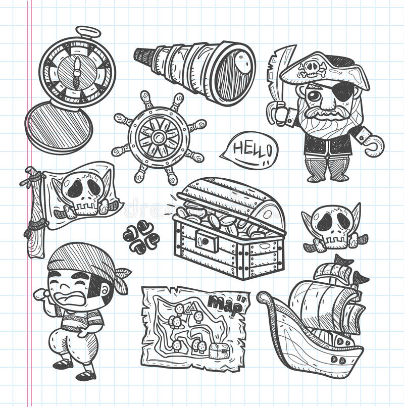 Download Set of doodle pirate icons stock illustration. Image of hand - 33193128