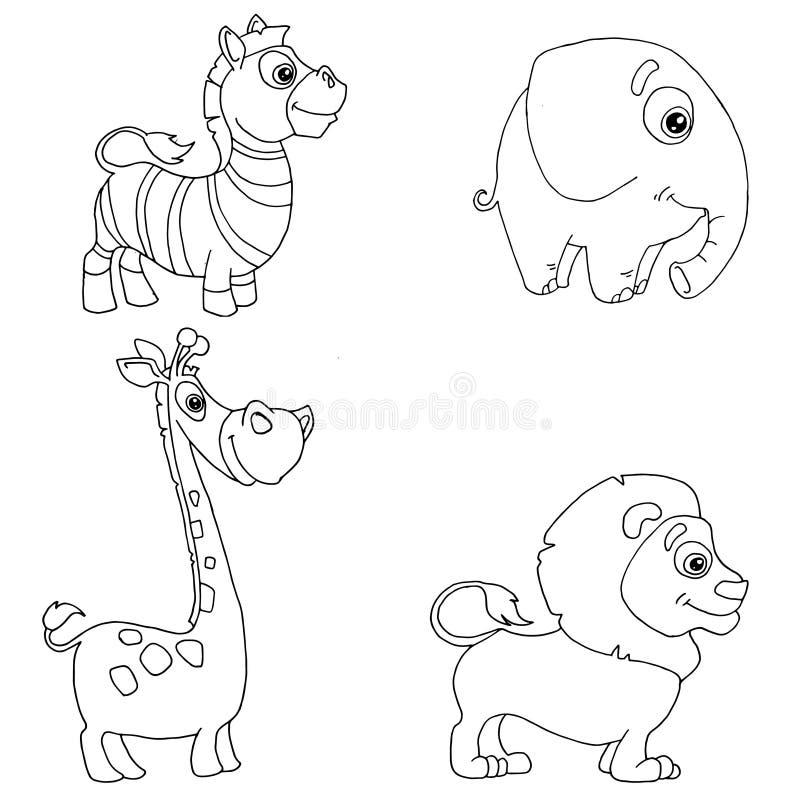 Set doodle pociągany ręcznie afrykańscy zwierzęta zebry, słoń, żyrafa, lew ilustracji