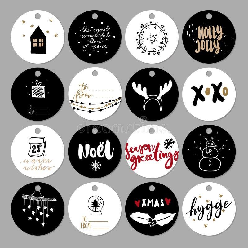 Set doodle prezenta Bożenarodzeniowa etykietka Wektorowa ręka rysować śliczne ikony Skandynawów stylowi printables Xmas drzewo, d ilustracji