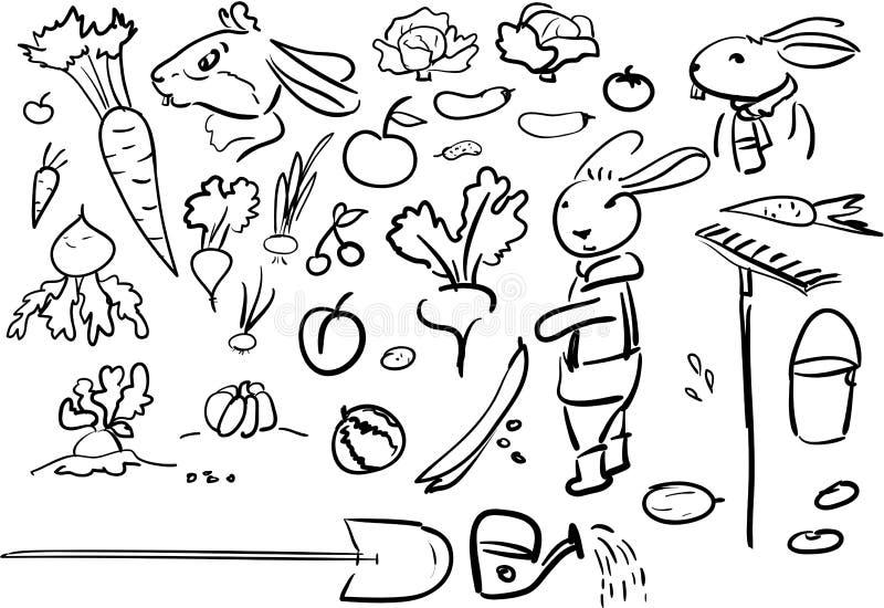 Set doodle rural - vegetables and fun rabbits royalty free illustration