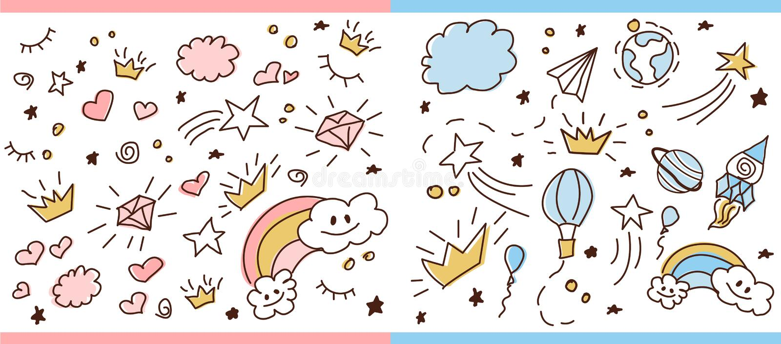 Set of doodle seamless pattern. Vector background for little prince and princess. Cute girlish and boyish crown hand drawn illustration. Trendy baby fabric, kid royalty free illustration