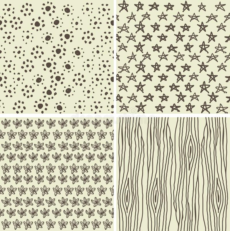 Set of 4 doodle seamless patterns. In 2 retro colours royalty free illustration