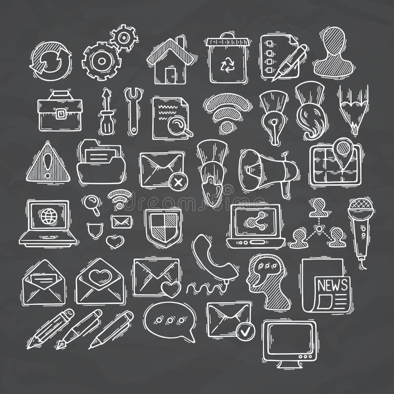 Set doodle sieć, komputer i rysunkowe ikony, ilustracji