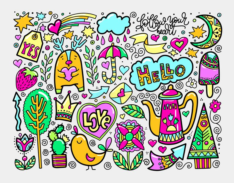 Set of doodle sketch drawing nice elements in bright colors vector illustration