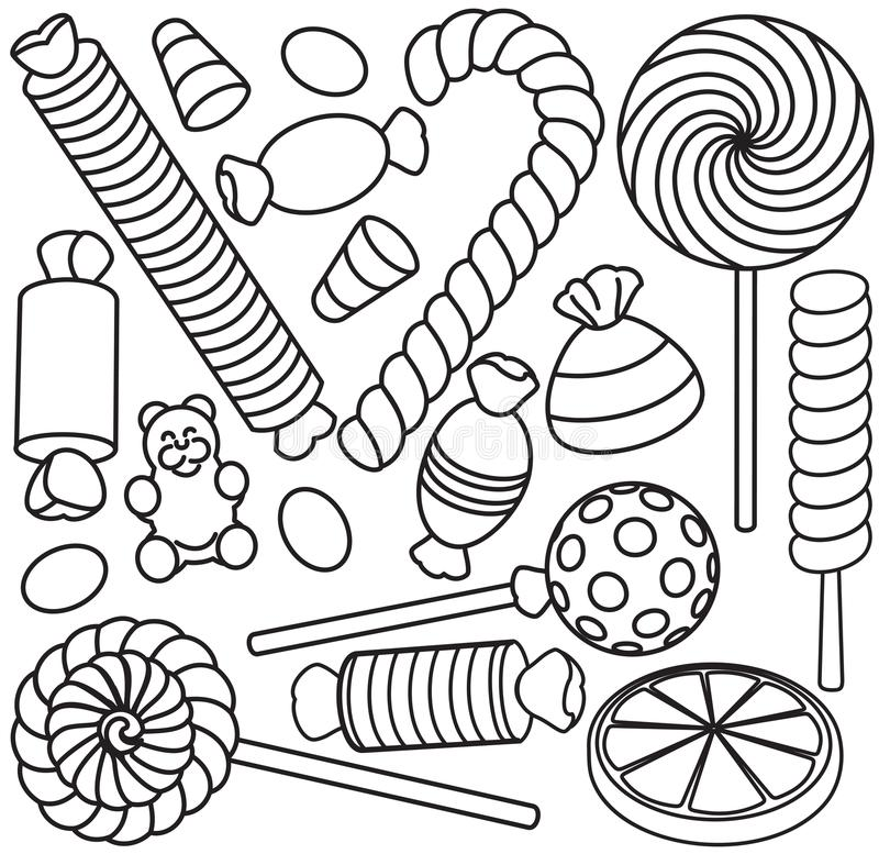 Set of doodle sketch sweets and candy royalty free illustration