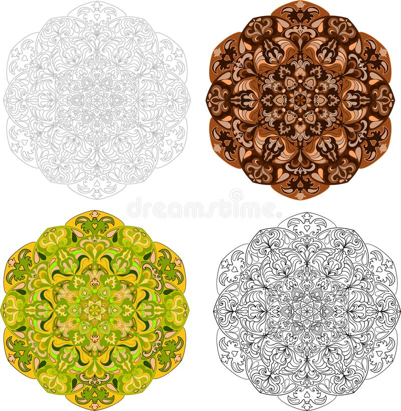 Set of doodle mandalas for decorating of poster, banner, greeting cards, covers, prints, clothing textile. Round ornament royalty free illustration