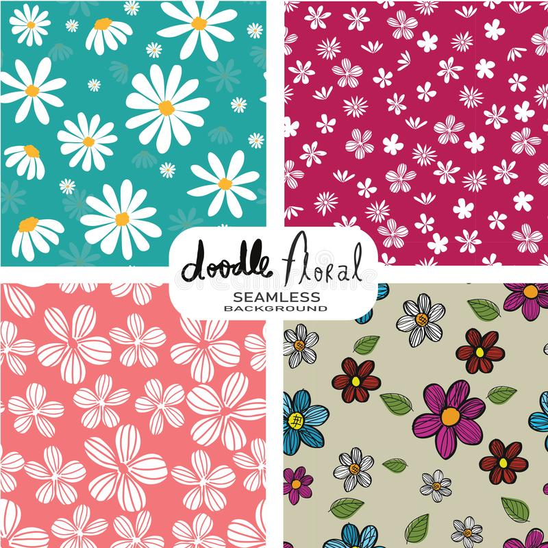 Set of doodle white flowers pattern on vintage colour background, seamless pattern background vector illustration