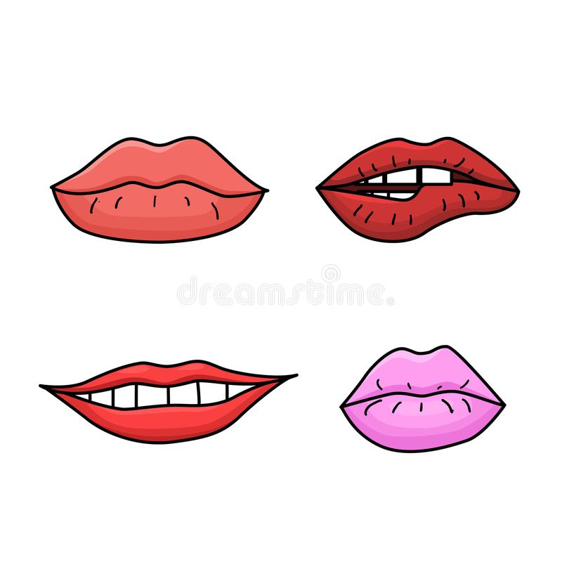 Set of doodle womens lips royalty free illustration