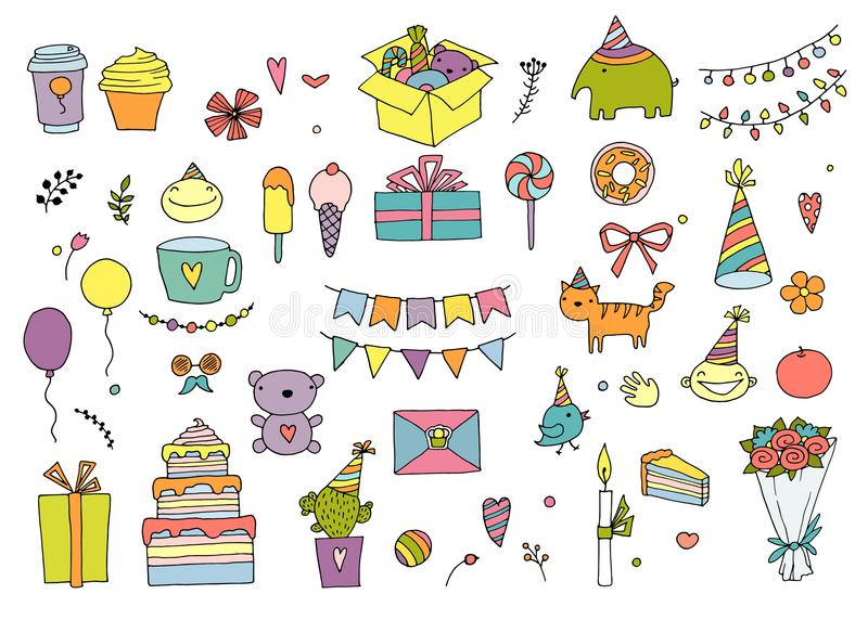 Set of doodles birthday design elements. Hand-drawn garlands and balloons, music notes, gift boxes, party blowouts stock illustration