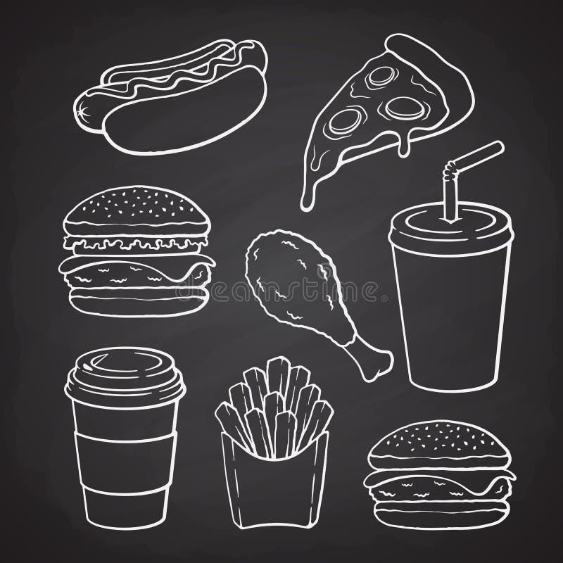 Set of doodles of fast food vector illustration