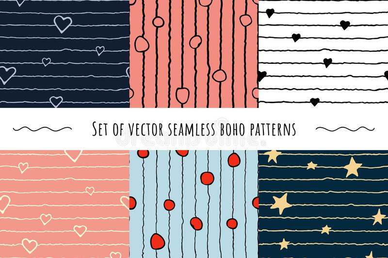 Set with doodles hand-drawn boho seamless patterns. stock illustration