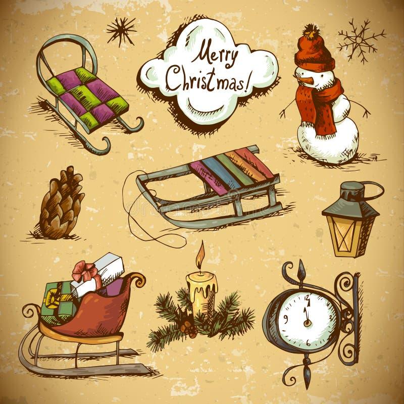 Set Doodles projekta nowego roku elementy ilustracji