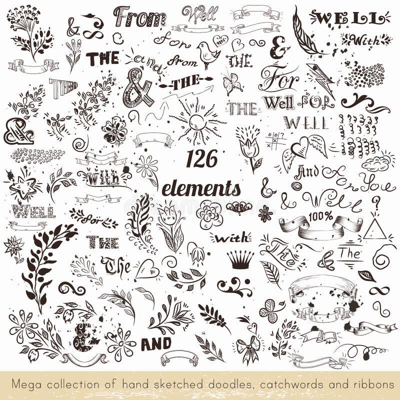 Set doodles, slogany i faborki wektorowa ręka kreślący, ilustracji