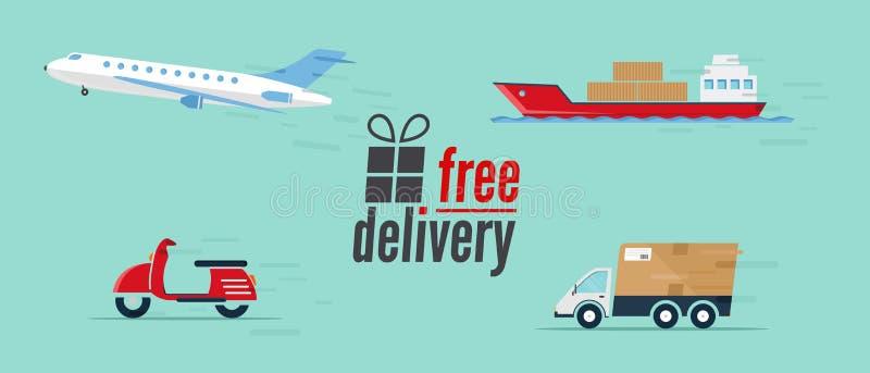 Set dostawa transport - samochód, statek, samolot, hulajnoga ilustracja wektor