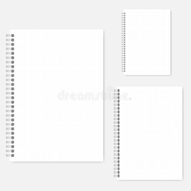 Set of dot grid spiral notebook vector mock-ups - A4, A5, A6. Set of dot grid notebook vector mock-ups. A4, A5, A6 size. Spiral bound notepads mockup. Wirebound stock illustration