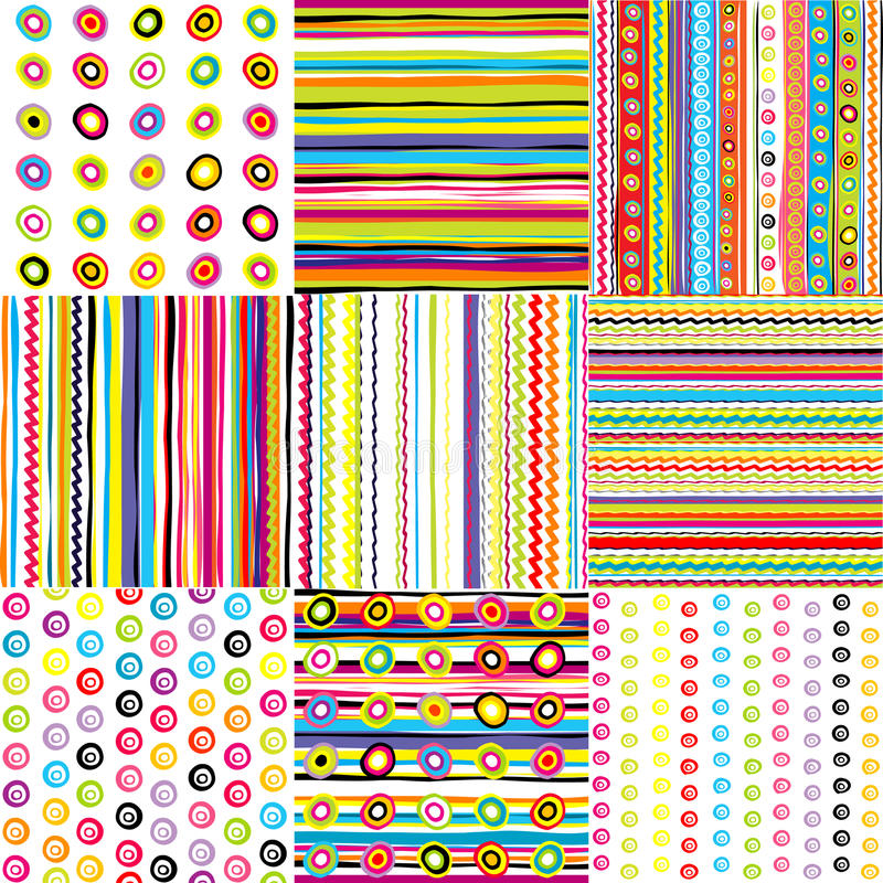 Set of doted and striped backgrounds for kids vector illustration