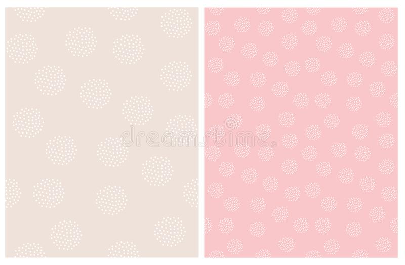 Set of 2 Dots Vector Patterns. Circles Made of Dots. Pin and Beige Design. vector illustration
