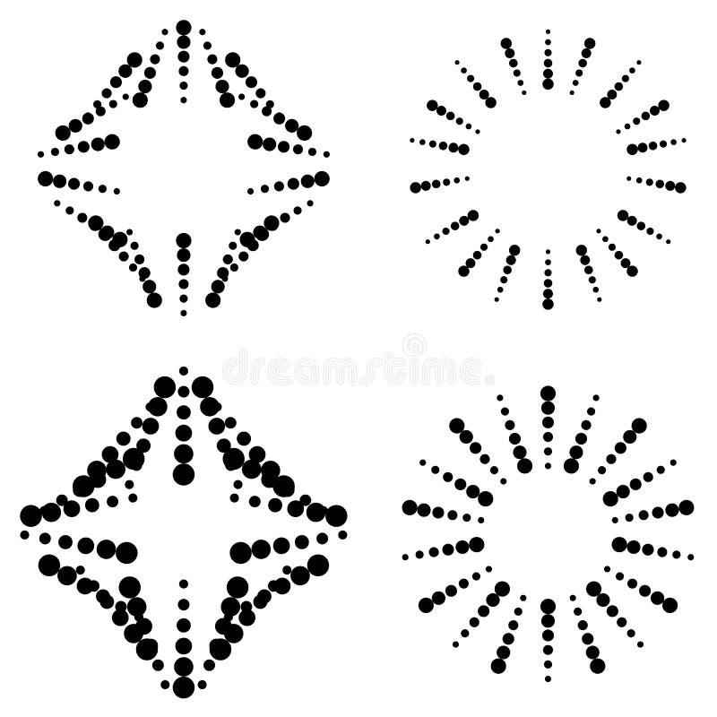 Set of dotted elements. Squarish and circular elements with dots-circles - Royalty free vector illustration royalty free illustration