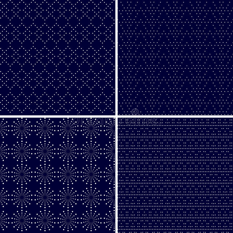 Set of 4 dotted ornamental dark blue seamless patterns stock illustration