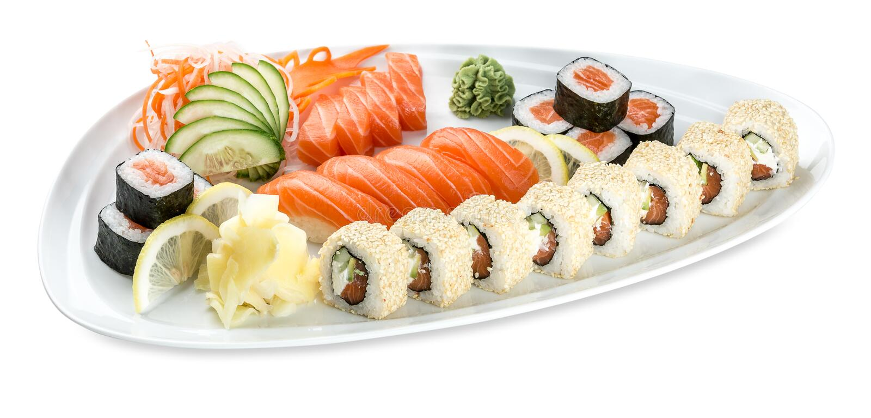 Set double saki sushi plate isolated on white. Set double saki sushi plate - isolated on white background, Studio shot royalty free stock photos