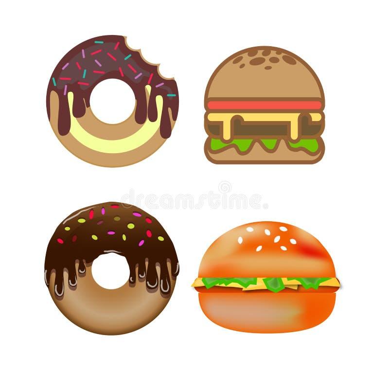 Set_of_doughnut_and_hamburger 库存照片