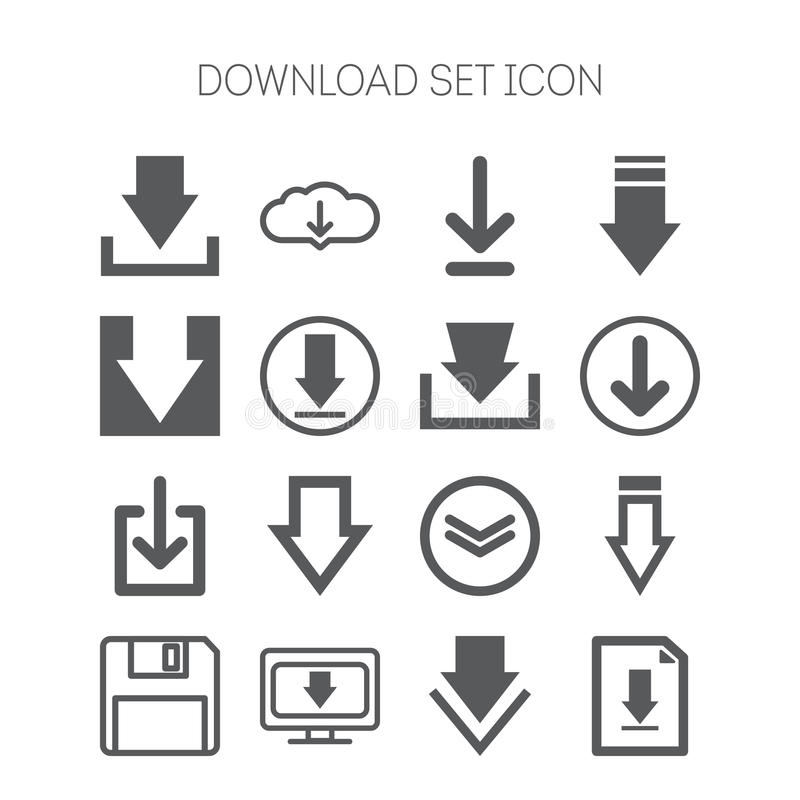 Set of download icons for web site, applications, games and stickers stock illustration