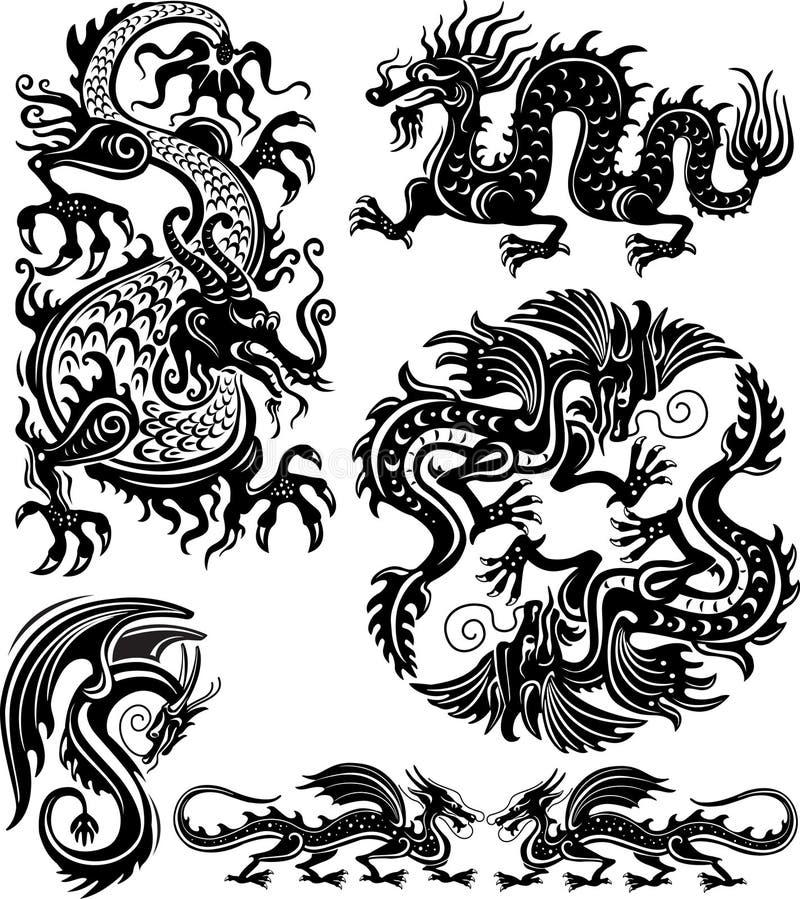 Download Set of dragon stock vector. Image of ornamental, china - 21899284
