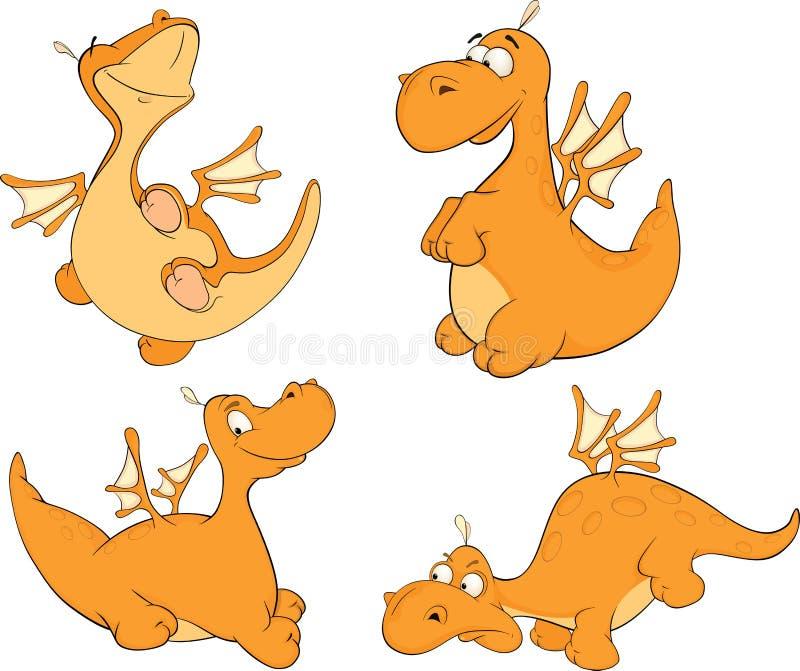 Set of dragons cartoon royalty free illustration