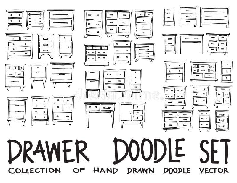 Set of Drawer Drawing illustration Hand drawn doodle Sketch line vector eps10. Set of Drawer Drawing illustration Hand drawn doodle Sketch line vector vector illustration