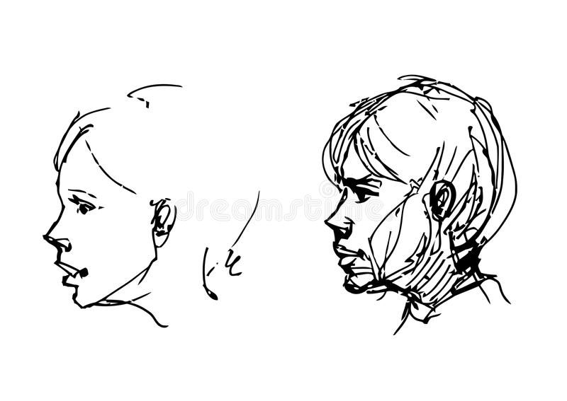 Set of drawing heads royalty free illustration