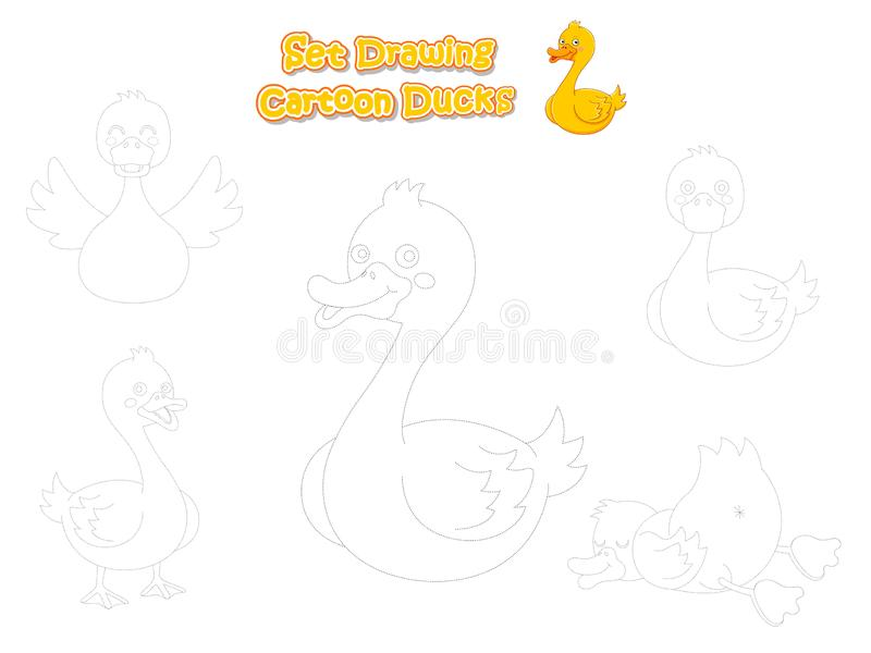 Set Drawing and Paint Cute Cartoon Ducks. Educational Game for Kids. Vector illustration With Cartoon Funny Animal Frame. Industries Education stock illustration