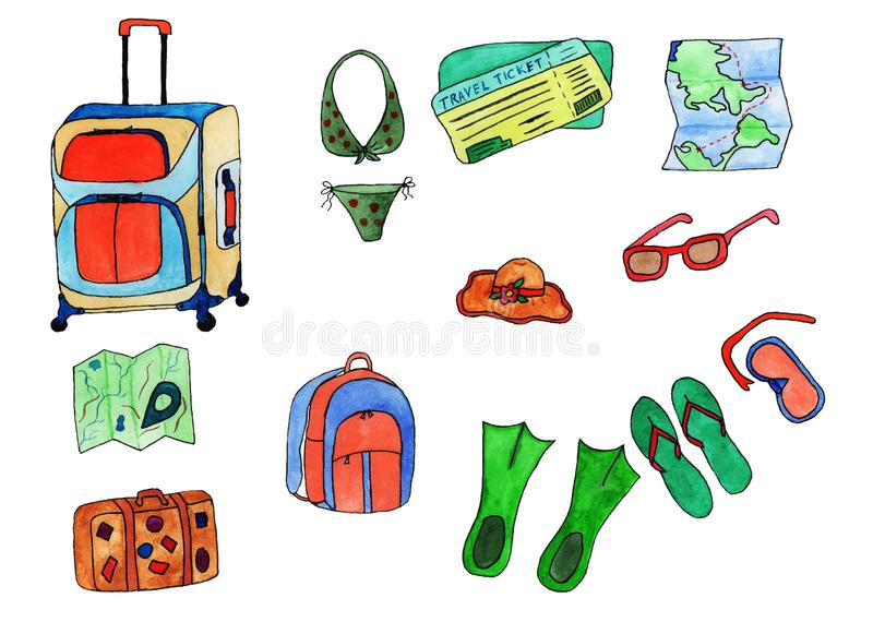 Set of drawings all for travel watercolor on white background. A set of drawings for all travel watercolor on a white background different color suitcase stock images