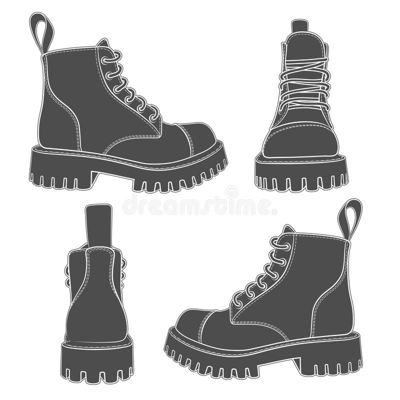 Set of drawings with boots. Isolated objects. EPS10 stock illustration