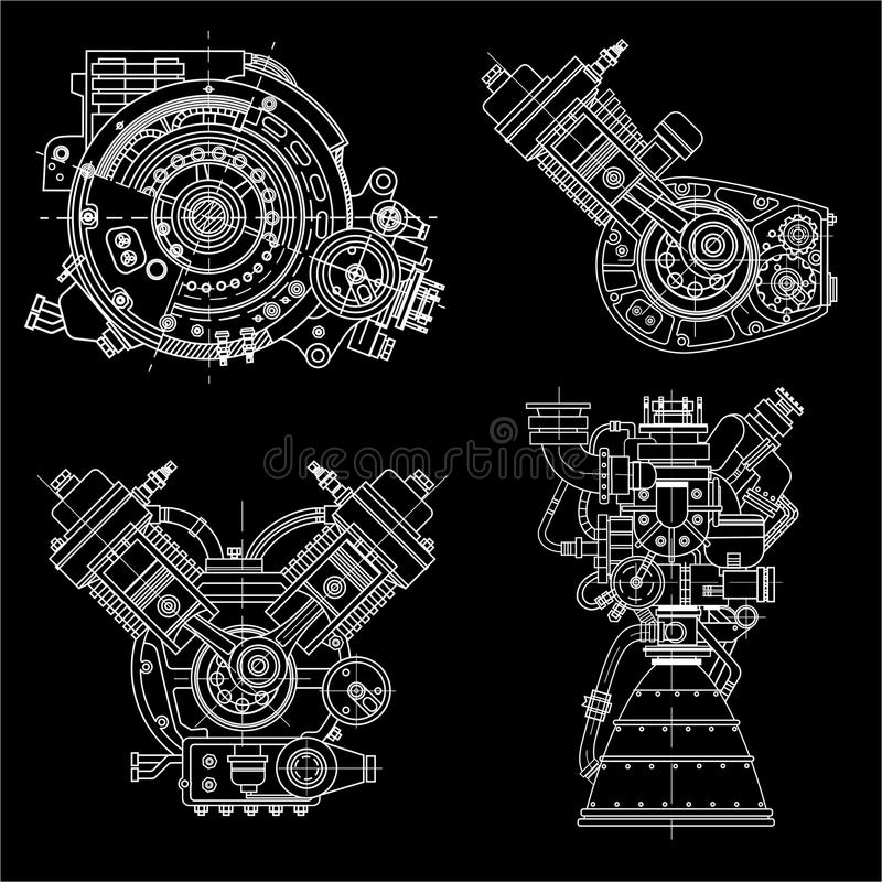 Set of drawings of engines - motor vehicle internal combustion engine, motorcycle, electric motor and a rocket. It can. A set of drawings of engines - motor royalty free illustration