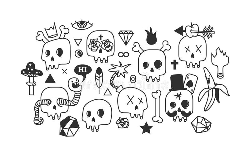 Skulls And Drawings Stock Illustration Illustration Of