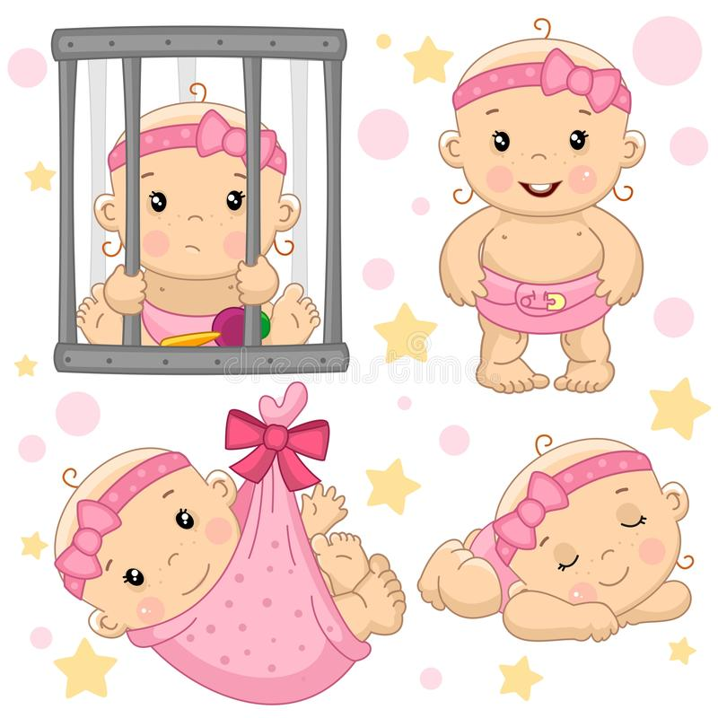 Baby girl 8 part. A set of drawings with young girls for design, the girl behind the bars is sad, standing and laughing, wrapped in a diaper bag, sleep and vector illustration