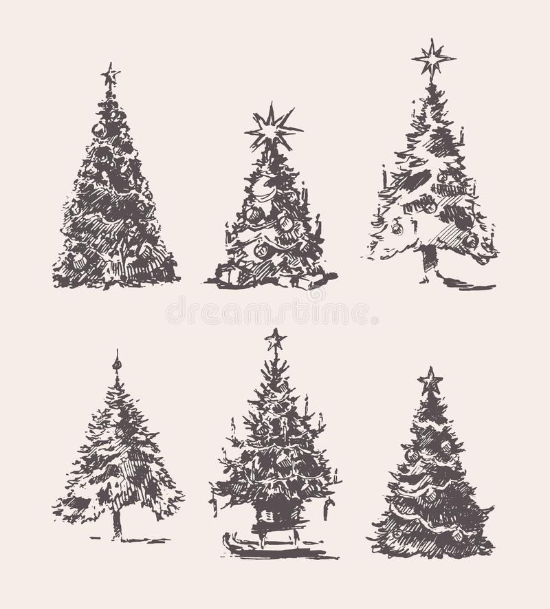 Set drawn Christmas Trees vintage vector sketch royalty free illustration