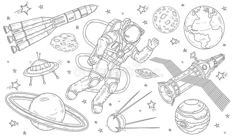 Vector illustration astronaut flying in space among the planets, satellites and missiles. royalty free stock photos