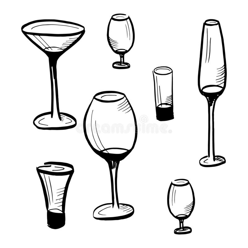 Set of drawn sketches, glass goblets isolated on white background, Vector vector illustration