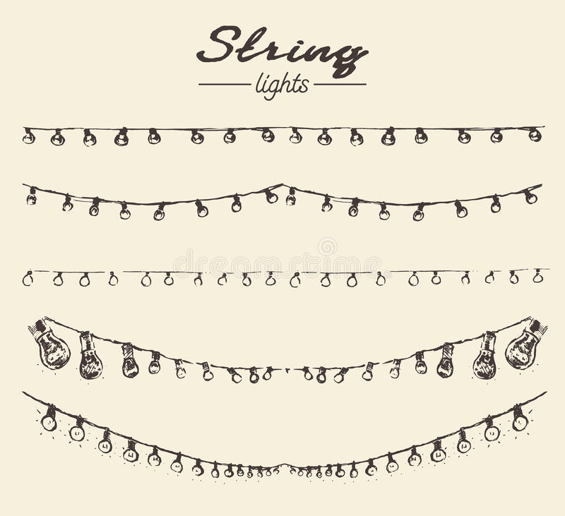 Set drawn string lights ement vector illustration. Set of hand drawn string lights, perfect design element for your products, vector illustration royalty free illustration