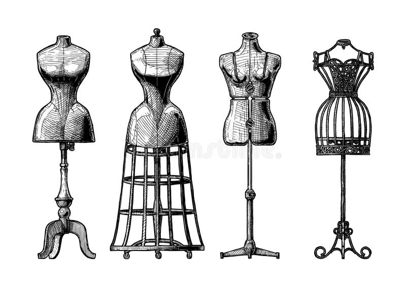Set of dress form. Vector black-and-white hand drawn illustration of mannequins set in vintage engraved style. Old fashion dummy, dress-stand with bustle vector illustration