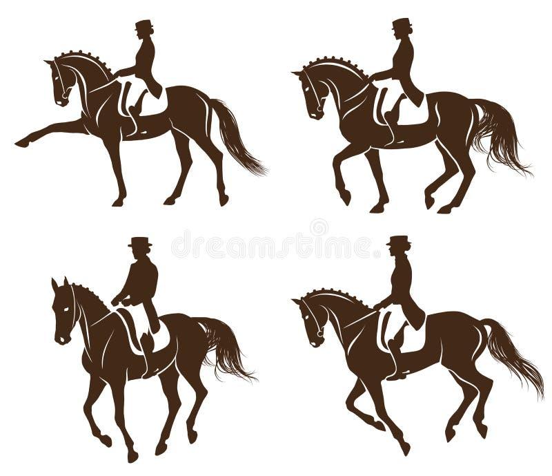 Set dressage konie z jeźdzem ilustracji